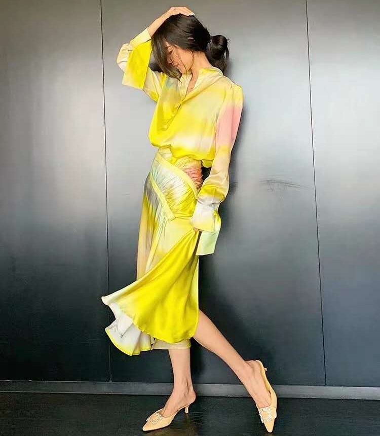 High Quality Skirt Suits 2020 Spring Summer Two Piece Set Women Gradient Color Print Tops Shirt+Mid-Calf Skirt Set Female