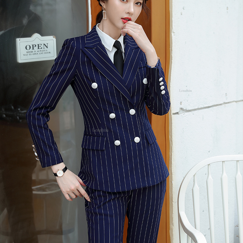Lenshin High Quality 2 Piece Set Striped Formal Pant Suit Soft and Comfortable Blazer Office Lady Uniform Designs Women Business 27