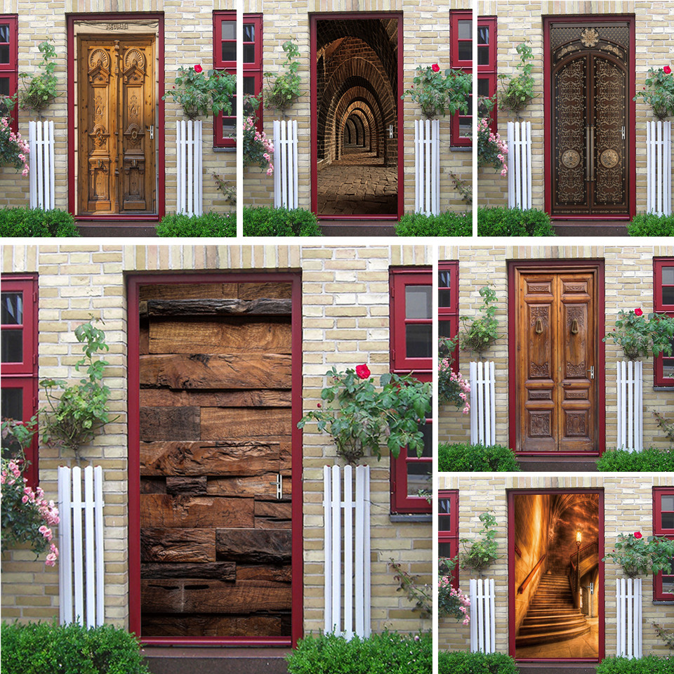 2PCS/SET Door Sticker Wood Pattern PVC Self-adhesive Waterproof 3D Removable Home Decoration Decals DIY Art Mural Stickers Porte