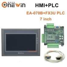 samkoon EA-070B HMI touch screen 7 inch and FX3U series PLC industrial control board with DB9 Communication line