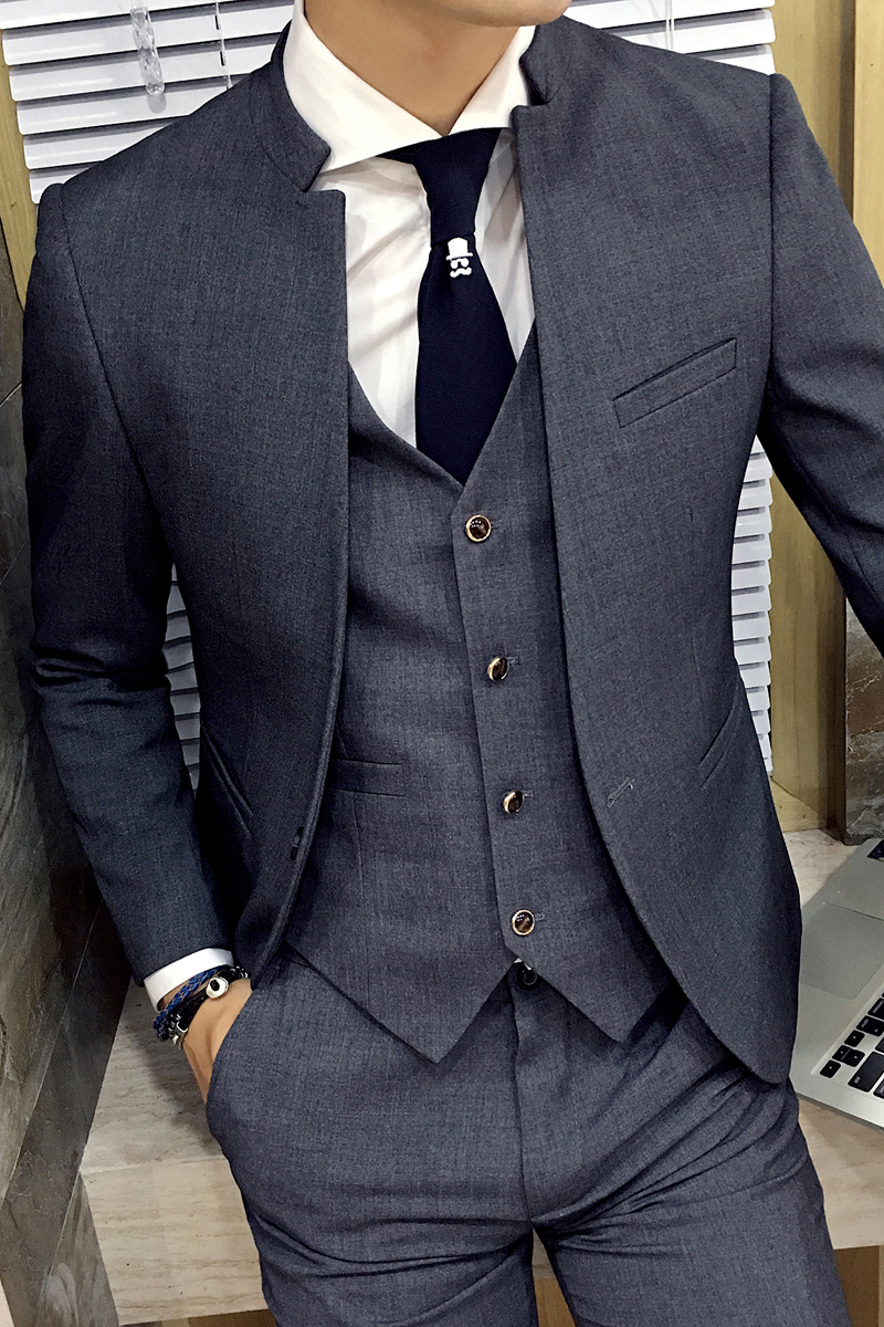 2020-New-Business-Grey-Stand-Collar-Slim-Fit-Mens-Suit-Slim-Fit-Custom-Made-Costume-Homme