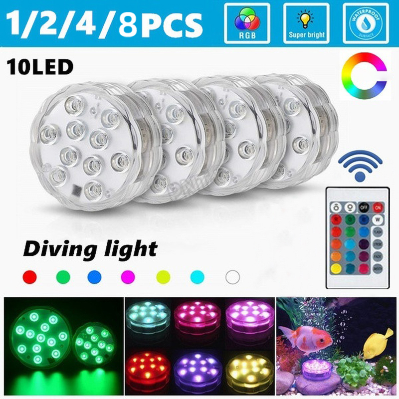 10 Led Remote Controlled RGB Sommergibile Luce A Pile di Divinglight Lampada Esterna Vaso Bowl Giardino Decorazione Del Partito Della Lampada