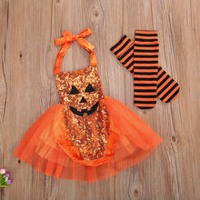Baby Girl Halloween Costume, Cute Pumpkin Face Sequin Halter Romper Tutu Dress + Striped Socks 2Pcs Outfits(China)