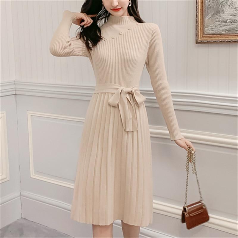 Fashion Sweater Dress Women Knitted Dresses Korean Woman Stretch Sweater Dress Elegant Woman Pullovers Sweaters Pleated Dresses