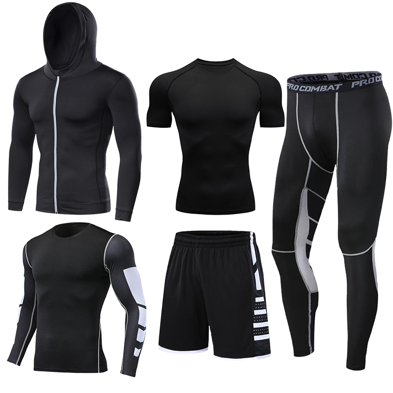 Dry Fit Men's Training Sportswear Set Gym Fitness Compression Sport Suit Jogging Tight Sports Wear Clothes 4XL5XL Oversized Male 4