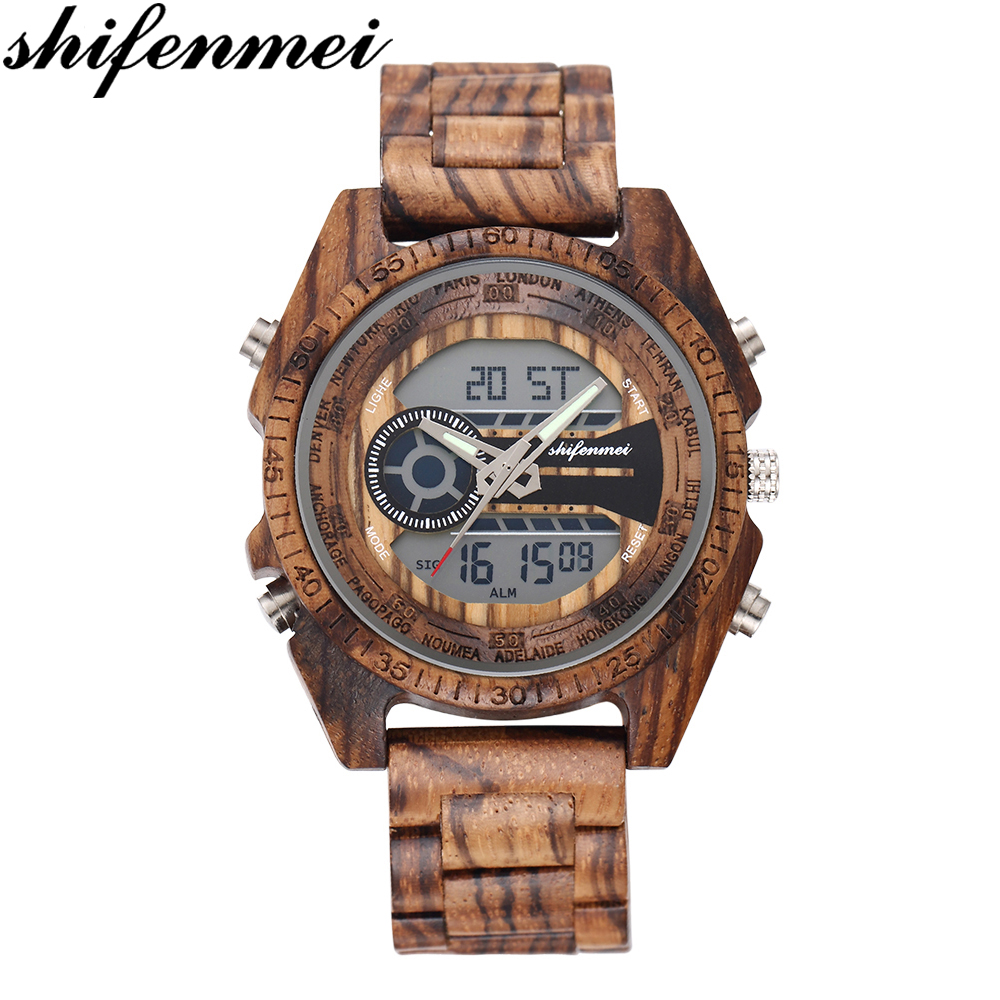 Shifenmei Watches Men Fashion Watch 2019 Wood Watch Digital Analog Multifunctional Watches Wooden Wristwatch Male Zegarek Damski
