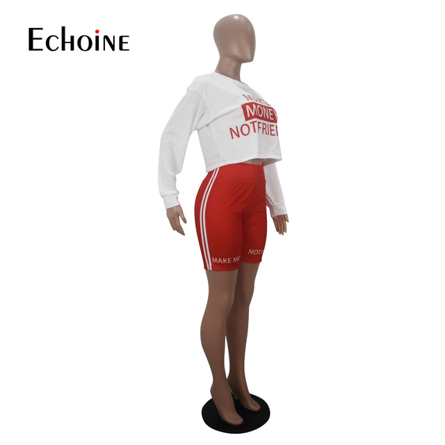 Echoine Women Sexy letter Print Two Piece Set Long sleeve T-shirt Shorts Suit Jogger Tracksuit Matching Party Outfit Streetwear 6