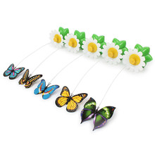 New Year Fun Electric butterfly flying around the flower pet cat toys Cat Pet Toy(China)
