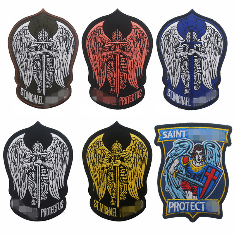 Patch Saint Michael ST. ISAF SWAT Wings Sword Morale PROTECT USA Embroidery US Tactical Appliques Emblem Badge patches Appliques(China)