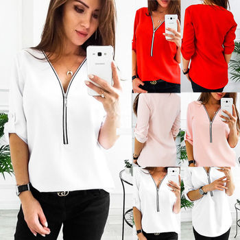 Women Shirts Sexy V Neck Solid Zipper Short Casual Shirt Female Clothes Blouse Womens Tops Fashion Loose pullover