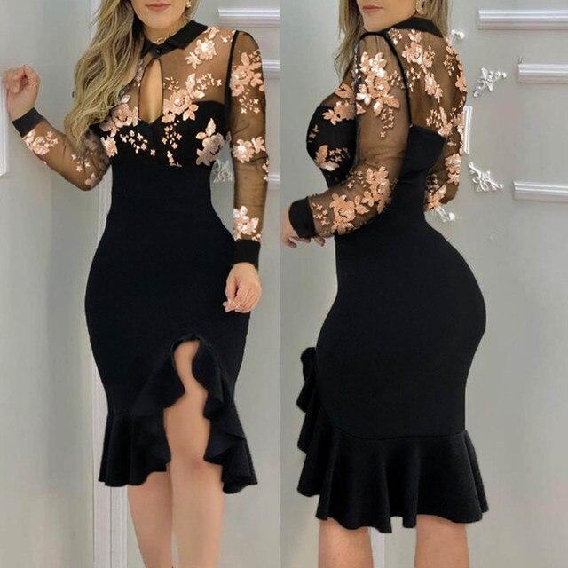 Woman Dress Slit Ruffles Hem Floral Pattern Slimming Lace Long Sleeve Dress Elegant Casual Vintage Party Dresses Vestido Mulher 1