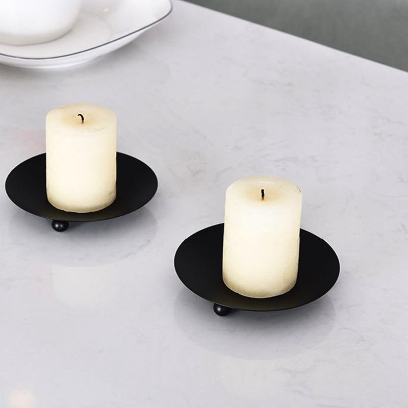 Metal preto/ouro chapeado castiçais de liga zinco alta qualidade pilar placa ferro para casamento portavelas candelabros decoração da casa