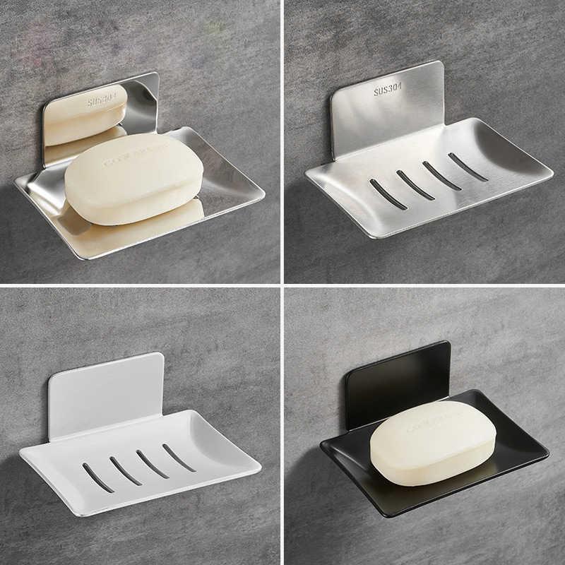 no drilling soap dish holder wall mounted soap sponge holder for kitchen soap holder bathroom organizer metal soap holder