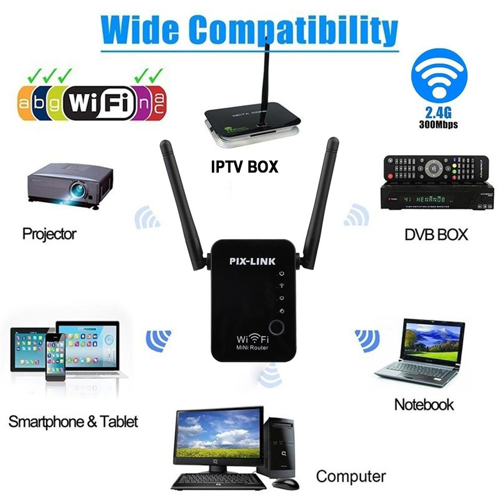 300Mbps Wireless Router Wi-Fi Range Extender Booster WLAN Repeater Signal Amplifier Data Rate Support For WiFi Protected Setup image