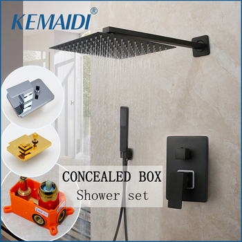 KEMAID Black Rainfall Shower Mixer Wall Mounted Shower Faucets Concealed Shower Tap Embedded Box Valve Square 2 Way Function