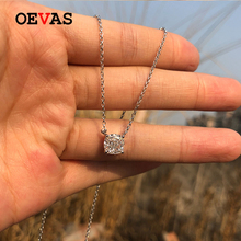 OEVAS 7*7mm High Carbon Diamond Sparkling Zircon 100% 925 Sterling Silver Pendant Necklace For Women Wedding Party Fine Jewelry