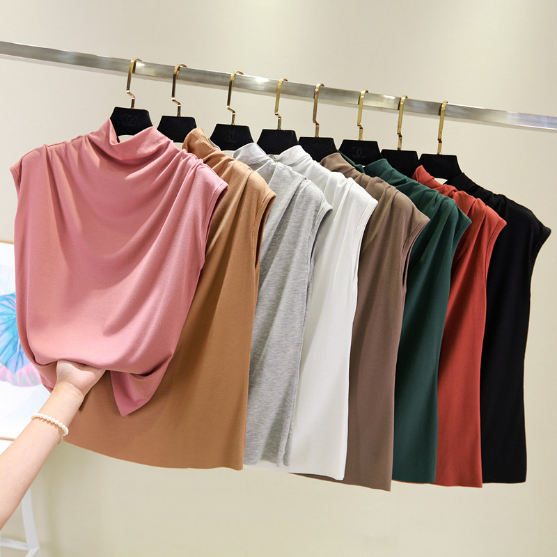 [EAM] Women 8 Colors Brief Pleated Khaki Pleated T-shirt New Turtleneck Sleeveless  Fashion Tide  Spring Summer 2020 1X854 4