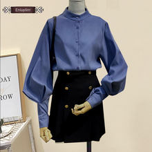 2020 Women Fashion Long Sleeve Stand Vintage Tops Blue Elegant Office Lady Work Formal Button Shirts Blouses E2023(China)