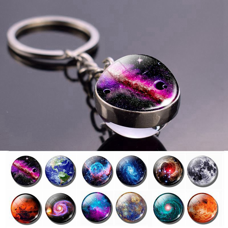 Galaxy Planet Keychain Trendy Solar System Art Picture Glass Ball Key Chain Moon Earth Mars Double Side Pendant Universe Jewelry