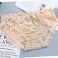 Новый Для женщин трусы больших размеров Размеры со средней талией с рюшами из молочного шелка, сексуальное нижнее белье, трусы, нижнее белье...