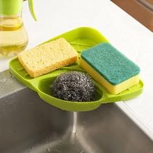 Kitchen Sink Storage tool Corner Rack Sponge Holder Wall Mounted Dishes Drip Bathroom Soap Dish