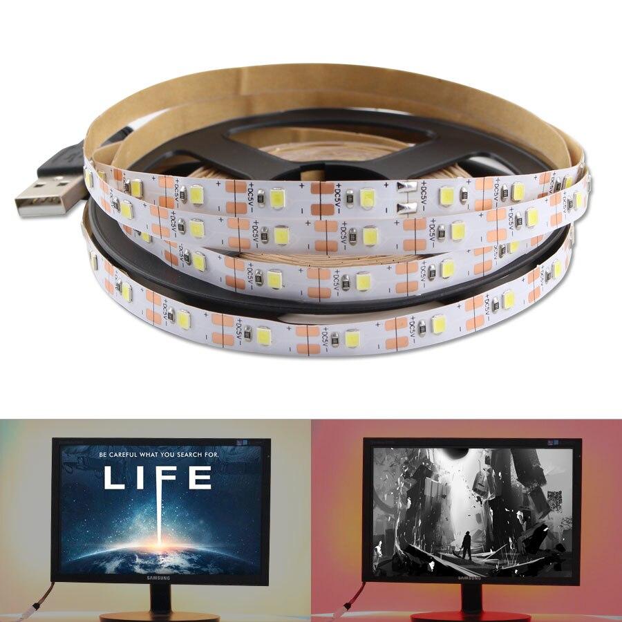 DC 5 V USB светодиодный светильник 5 V 2835 не водонепроницаемый теплый белый кабель Рождественский Декор ТВ ПОДСВЕТКА светильник USB Светодиодная лента лампа|Светодиодные ленты|   | АлиЭкспресс