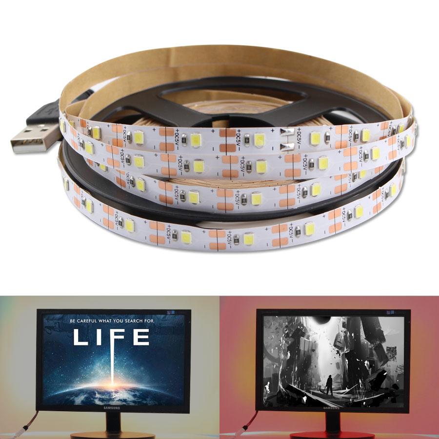 Светодиодная лента, 5 в пост. Тока, USB, 5 В, 2835, не водонепроницаемый, теплый белый кабель, Рождественский Декор, подсветка телевизора, светильн...