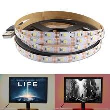 Tira de luz de led usb, c 5 v 2835 não é à prova d' água cabo branco quente decoração do natal luz de fundo para tv fita de lâmpada led diodo
