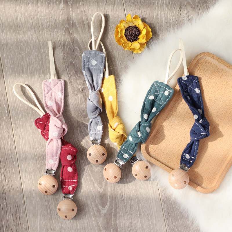 Let's Make Baby Pacifier Clip Chain Cotton Cartoon Wave Point Country Style Pacifier Holder Dummy Clips Handmade Baby Gift Chain