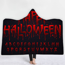 Halloween Digital Print Hooded Blanket Cloak Thick Double Layer 100% Polyester Fiber