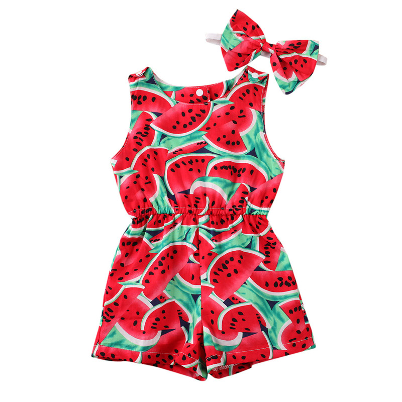 2020 Baby Summer Clothing Baby Girls Romper Sleeveless Watermelon Jumpsuit Tops Fruit Pants Headband 2Pcs Sets Outfits