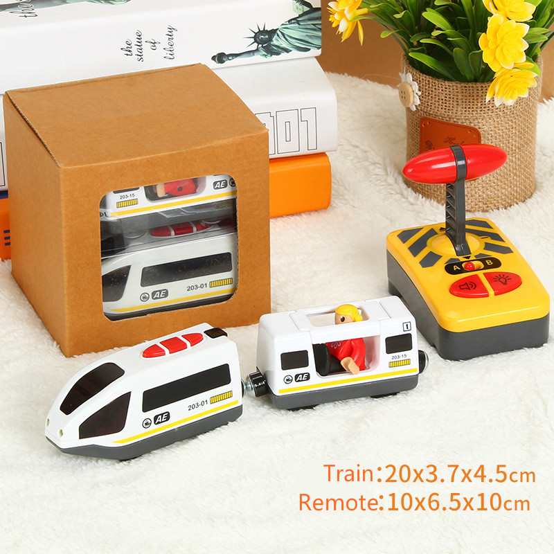 White Remote Control Electric Magnetic RC Train Toy Magnetic Slot Brio Wooden Track Car Toy Kids Gift