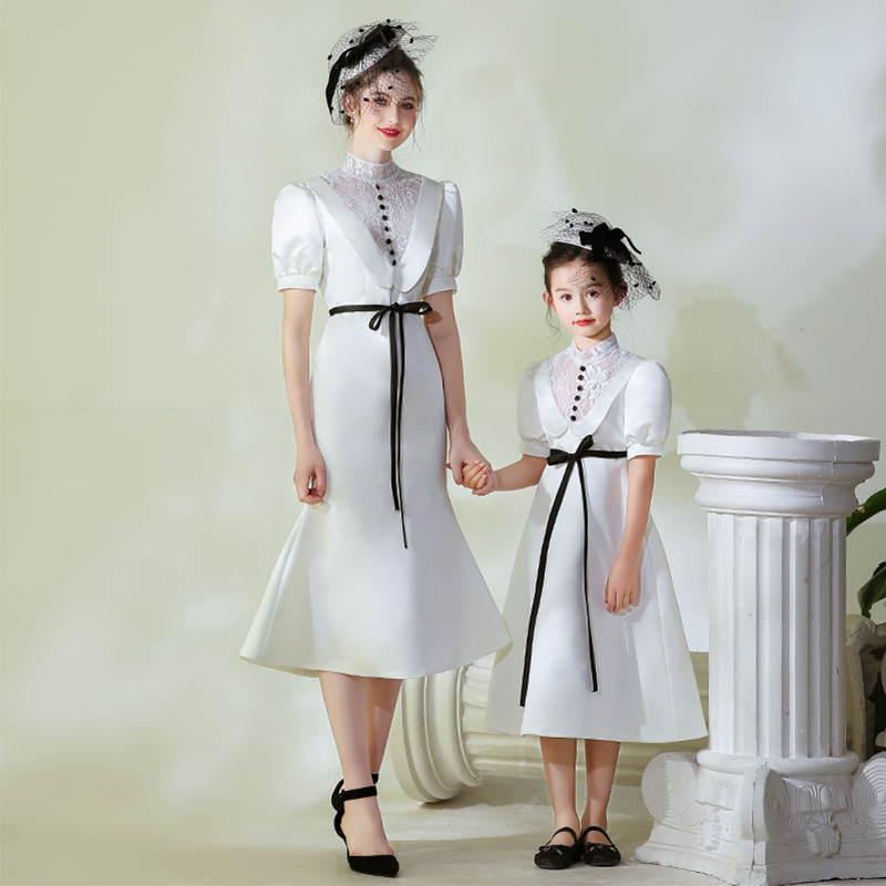Solid White Parent Child <font><b>Prom</b></font> Gowns CB162 High Collar Puff Sleeve Formal Banquet <font><b>Dresses</b></font> Lace Patchwork Mom And Daughter <font><b>Dress</b></font> image