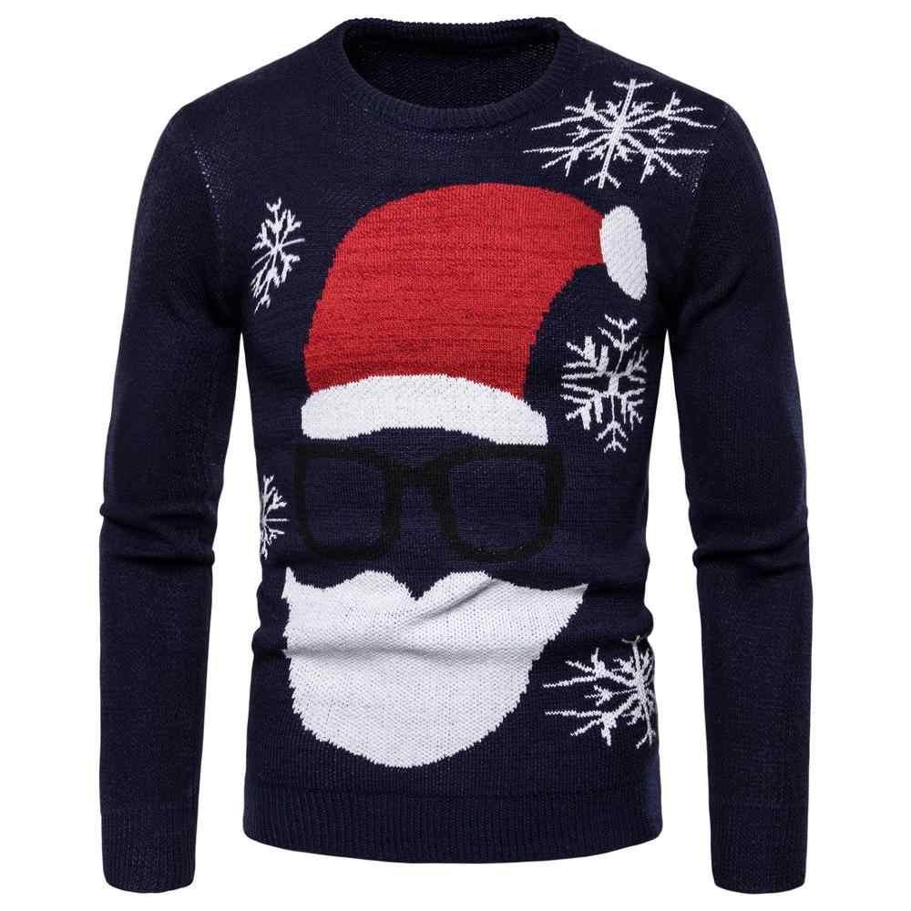 2019 jesień nowy męski nadruk ze świętym mikołajem sweter męski duży rozmiar sweter z okrągłym dekoltem boże narodzenie J782