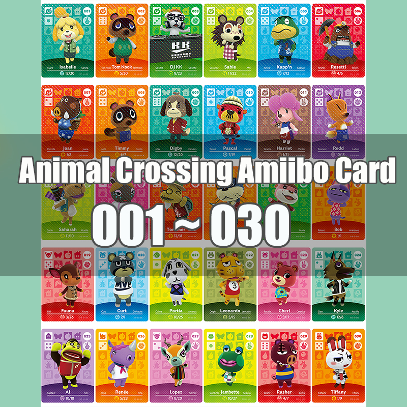 Animal Crossing Amiibo Card Animal Crossing New Horizons Game NFC Lobo Card Work For NS 3DS Game Switch Series 1 (001-030)