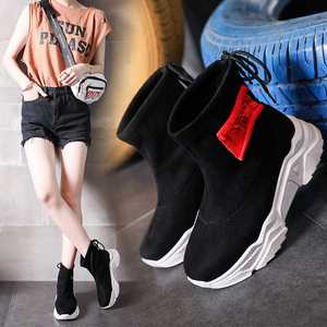 Image 4 - SWYIVY צאן פלטפורמת מגפי גבירותיי נעלי טריז אישה 2019 חדש סתיו מקרית קרסול מגפי נעלי נשים להחליק על נעליים שחורות
