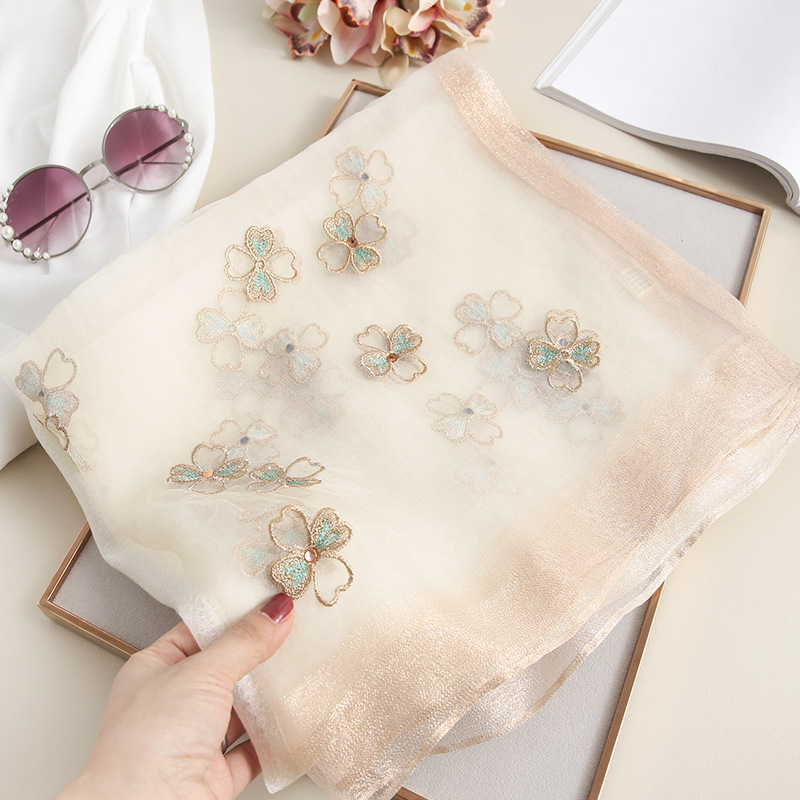 2019 Spain Fashion Silk Wool Scarf Women Stitch Floral Beads Shawl High Quality Wrap Neck Pashmina Stole Bandana Muslim Hijab thumbnail