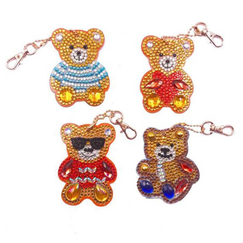 4 sztuk DIY pełna diament brelok specjalny kształt diament malarstwo cartoon niedźwiedź brelok haft torba kobieca brelok do kluczy WG1540