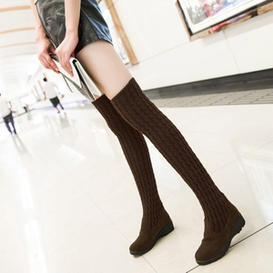 Image 4 - Womens Boots 2020 Autumn Winter Thigh High Boots For Woman Shoes Knitting Wool Long Boot Ladies Shoes Women Socks boots