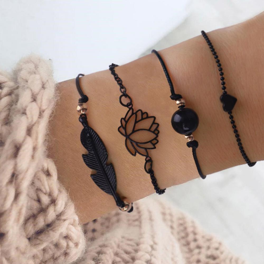 SUMENG 2021 New Fashion 4PCs Gothic Black Feather Lotus Bracelets Set Heart Charm Boho Bangles For Women Wrist Chain Bracelets