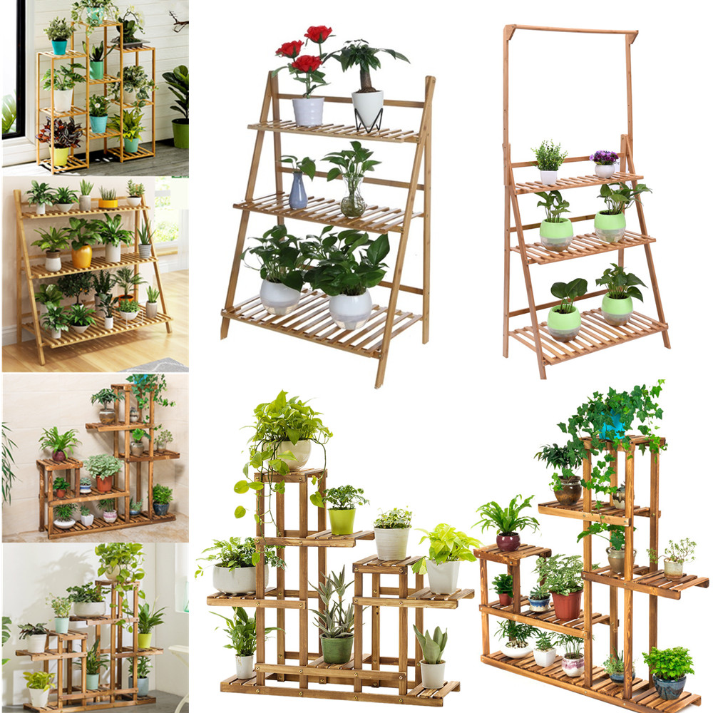 Multi-Tier Wooden Plant Flower Stand Plant Shelf Standing Flower Shelf Flower Pots Rack Display Outdoor Decor