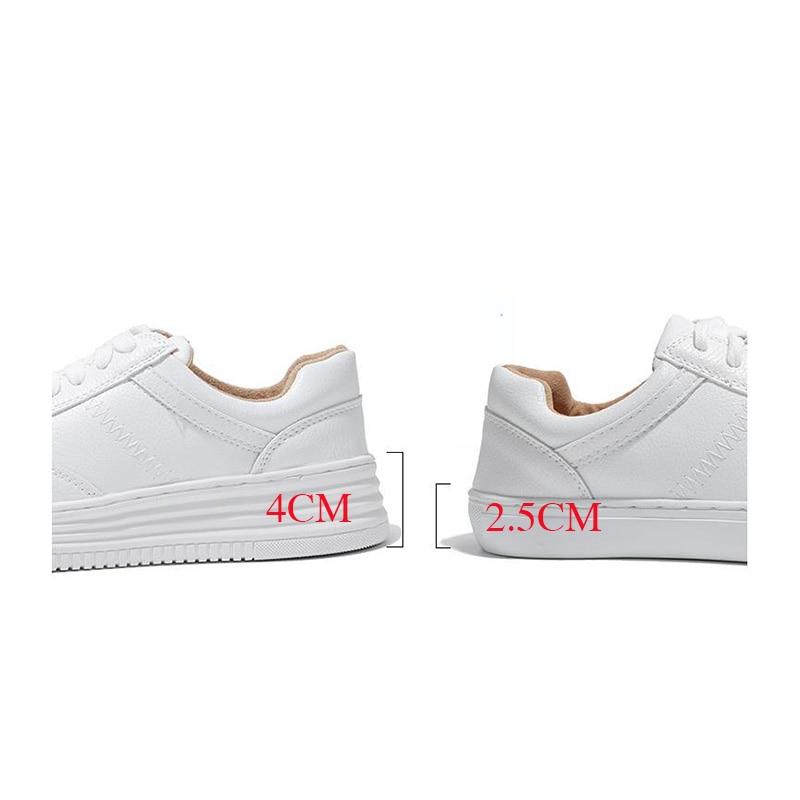 Fashion White Split Leather Women Chunky Sneakers White Shoes Lace Up Tenis Feminino Zapatos De Mujer Platform Women Casual Shoe 6