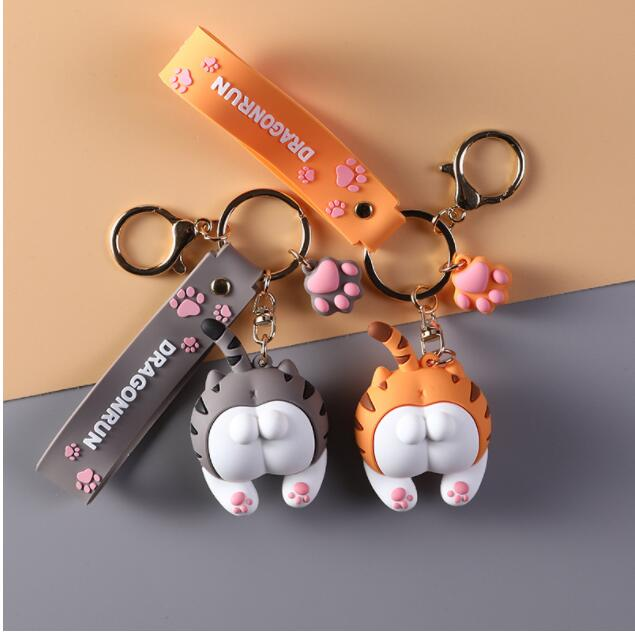 2020 Cute Cat Butt Key Chains For Women Girls Cats Ass Keychain Car Bag Animal Bell Pendant Keyring Jewelry Gift Orange Gray