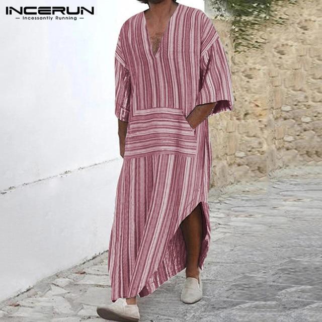 Best Price 7ce2 Incerun Cotton Vintage Men Striped Robes Islamic Clothes Loose Pockets Long Sleeve Saudi Arabia Men Jubba Thobe Muslim Kaftan Cicig Co