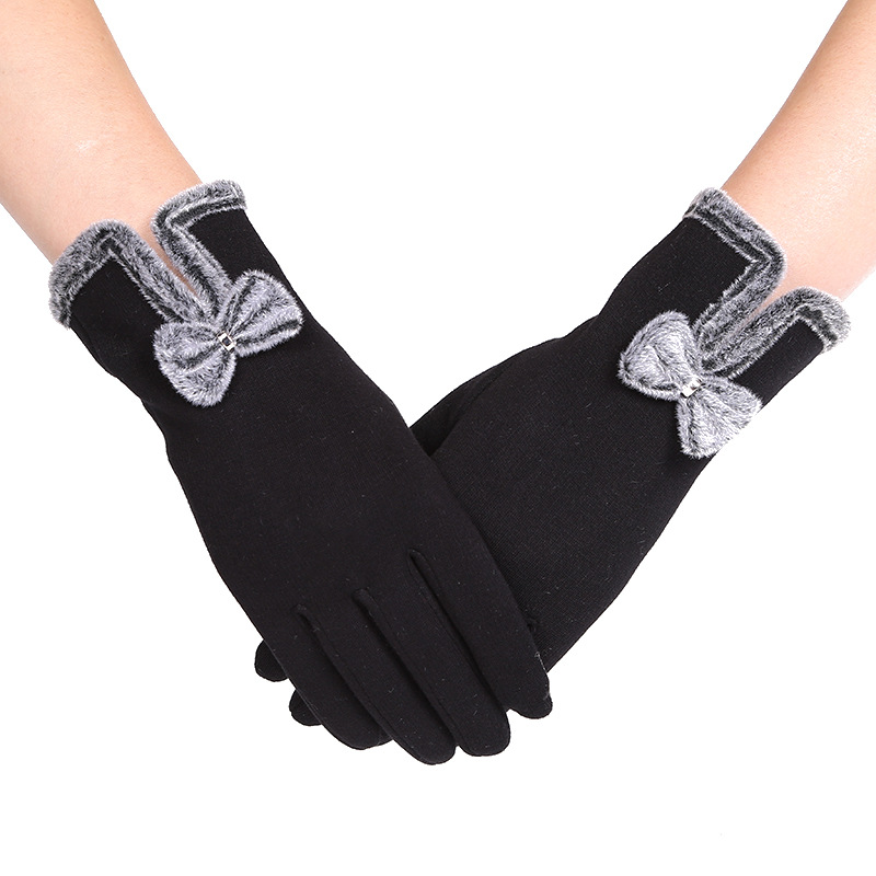 Winter Thickening Warm Not Down-velvet Touch Screen Finger Gloves Korean Version Of The Cute Bow Lady Stitching Gloves