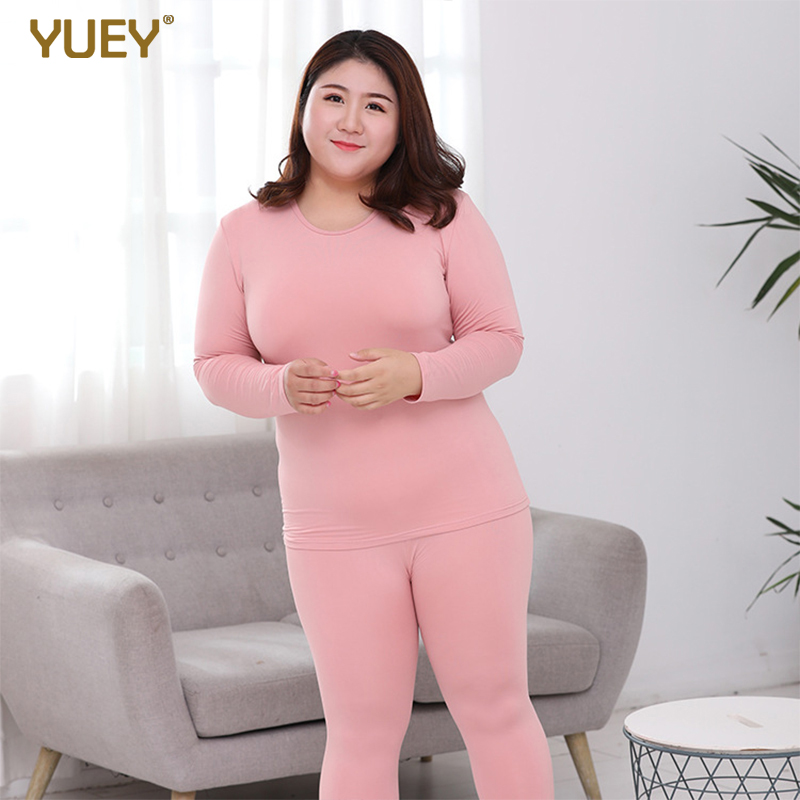Women's Long Johns Thermals For Autumn Winter Plus Big Size Warm Underwear Set Round Neck Stretch Soft Sleeping Suit Solid Color