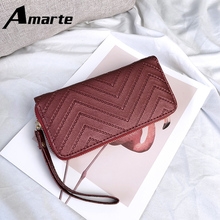 Amarte New Popular Women Wallet Fashion Solid Color Simple Coin Purse for Wild Large Capacity High Quality