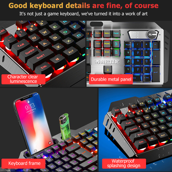 104 Keys Mechanical Feel Wired Gaming Keyboard Mouse Set Metal Phone Holder RGB Backlit Mouse Keyboard Set for Desktop Laptop PC 3