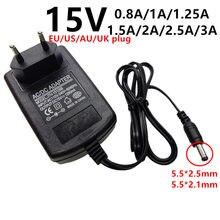 Adaptateur universel AC/DC, 15 V, 0,8 a, 800ma, 1a, 1,25 a, 1250ma, 1,5 a, 2a, 2,5 a, 3a, 5,5x2.1/2.5mm, ad