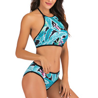 Vestido de baño bikini tropical halter push up 4